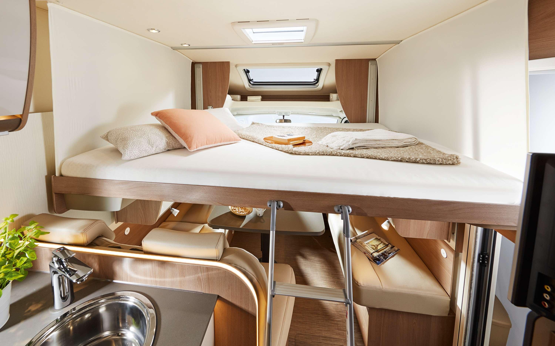 Wilderness Motorhome Burstner Lyseo Harmony TD590 fold down bed living area kitchen