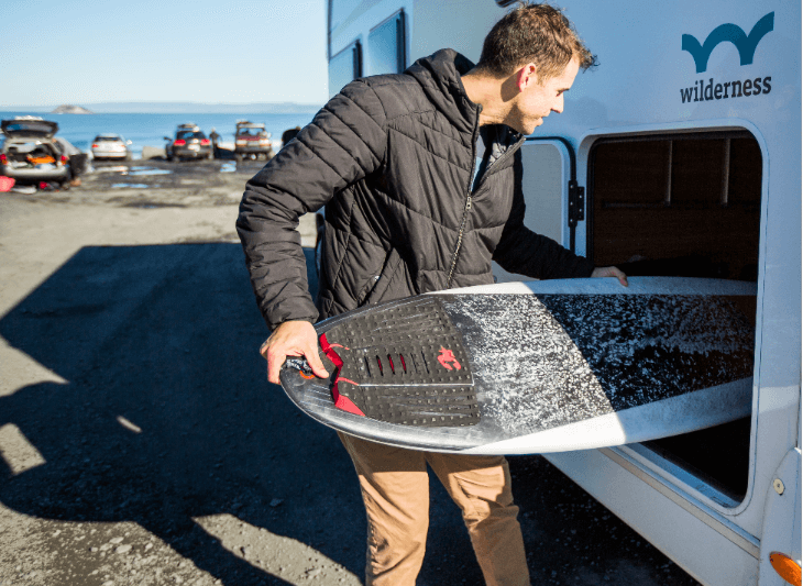 Loading surfboard into garage payload cof and wof motorhomes