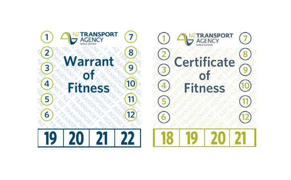 Warrant of fitness and certificate of fitness label front